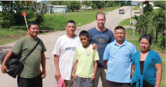 From left to right: Rudi May, Belarmino Quiroz with his son Mayron, Marc-André Villeneuve, Luis May and Sarah. Rudi, Belarmino and Luis are part of the Project's Scarlet Six Team.