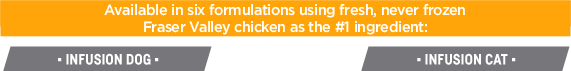Available in six formulations using fresh, never frozen Fraser Valley chicken as the #1 ingredient