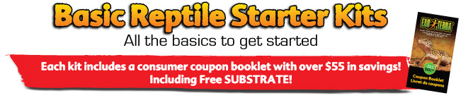 Basic Reptile Starter kits - Each kit includes a consumer coupon booklet with over $55 in savings! Including free SUBSTRATE!