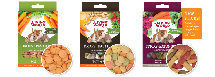 Living World Drops: Small animal treats group two: New sticks! Delicious stick-shaped veggie treats your pet will love