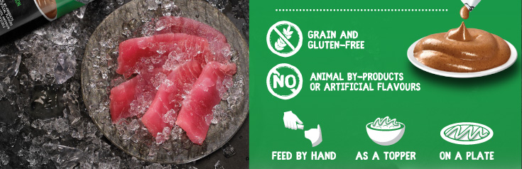 Grain and gluten-free, No animal by-products or artificial flavours
