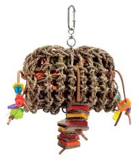 Living World Tropical Trove Foraging Pouch with Wood Bird Toy