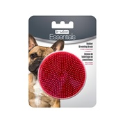 Le Salon Essentials Dog Round Rubber Grooming Brush - Red - 3 in