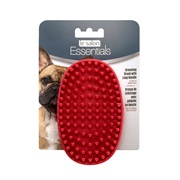 Le Salon Essentials Dog Rubber Grooming Brush with Loop Handle - Red
