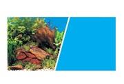 "Marina Double Sided Aquarium Background - Plants with Rocks Scene /Solid Light Blue - 45.7 cm x 7.6 m (18"" x 25 ft)"