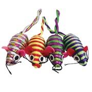 Cat Love Furry Frolics Cat Toy - Glitter Stripe Catnip Mice - 4 pieces
