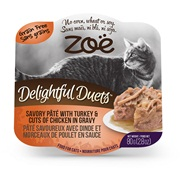 Zoë Delightful Duets Savory Pâté with Turkey & Cuts of Chicken in Gravy - 80 g (2.8 oz)
