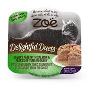 Zoë Delightful Duets Savory Pâté with Salmon & Flakes of Tuna in Gravy - 80 g (2.8 oz)