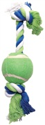 """Dogit Dog Knotted Rope Toy - Multicoloured Rope Bone with Tennis Ball - Medium - 38 cm (15"""")"""