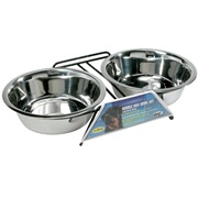 Dogit Stainless Steel Double Dog Diner - Extra Large - With 2 x 2 L (67.6 fl oz) bowls and stand