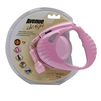Avenue Dog Retractable Tape Leash - Pink - Small - 4 m (13 ft)