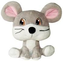 "Dogit Luvz Big Heads Plush Dog Toy - Gray Mouse - 15 cm (6"")"