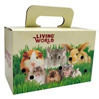 Living World Pet Carrier Carboard Box -  28 x 15 x 18 cm (11 x 6 x 7 in)