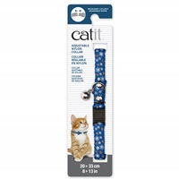 Catit Adjustable Breakaway Nylon Collar with Rivets - Blue with Flowers - 20-33 cm (8-13 in)