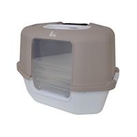 Cat Love Space Saver Corner Hooded Cat Pan w/Detachable bag anchor & carbon filter - Grey - 56 cm x 46 cm x 28 cm (22 x 18 x 17 in)