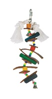 Living World Juglewood Bird Toy - Small Skewer With Wood Pegs, Plastic Beads, Leather Strips and Bell with Hanging Clip