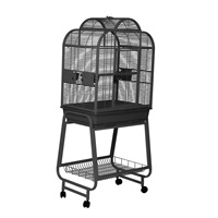 HARI Convertible Top Parrot Cage - Silver Antique Black - 68 L x 51 W x 154 H cm (27 in x 20 in x 60 in)