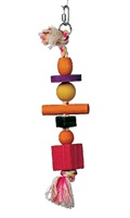 Living World Junglewood Bird Toy - Rope with 3 beads, 2 blocks, 1 cylinder & 1 peg with Hanging Clip