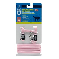 Catit Adjustable Nylon Cat Harness & Leash Set - Pink - Small