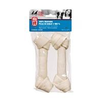 Dogit White Beefhide Bone Value Pack - 2 Knotted Bones - Medium - 20 cm (8 in) - 110-120 g (3.9-4.2 oz)