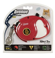 Avenue Dog Retractable Cord Leash - Red - Extra Small - 3 m (10 ft)