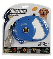 Avenue Dog Retractable Cord Leash - Blue - Large - 5 m (16 ft)