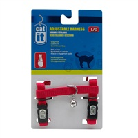 Catit Adjustable Nylon Cat Harness - Red - Large
