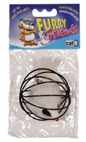 Catit Furry Friends Cat Toy - Wire Ball with Fur Mouse