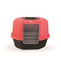 Cat Love Corner Hooded Cat Pan - Red & Charcoal