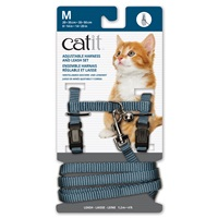 Catit Adjustable Nylon Harness & Leash Set - Light Blue - Medium
