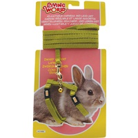 Living World Adjustable Harness and Lead Set For Dwarf Rabbits - Green - 1.2 m (4 ft)
