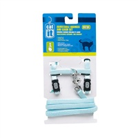 Catit Adjustable Nylon Cat Harness & Leash Set - Blue - Medium