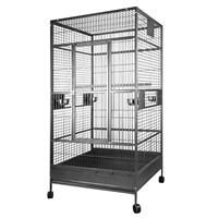 HARI Flat Top Parrot Cage - Silver Antique Black - 99 L x 99 W x 190 H cm (39 in x 39 in x 75 in)