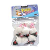 Catit Furry Friend Cat Toys - 2-Tone Mouse - 6 pack