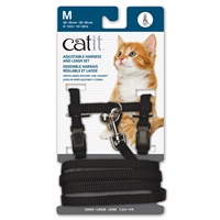 Catit Adjustable Nylon Harness & Leash Set - Black - Medium