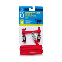 Catit Adjustable Nylon Cat Harness & Leash Set - Red - Medium