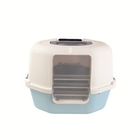 Catit Corner Hooded Cat Pan - Cool Grey & Blue
