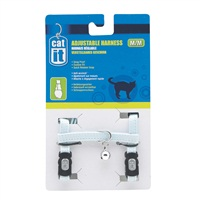 Catit Adjustable Nylon Cat Harness - Blue - Medium