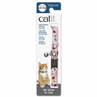 Catit Adjustable Breakaway Nylon Collar with Rivets - Pink and White with Ladybugs - 20-33 cm (8-13 in)
