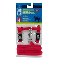 Catit Adjustable Nylon Cat Harness & Leash Set - Red - Large