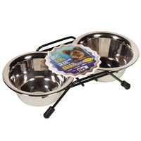 Dogit Stainless Steel Double Dog Diner - Mini - With 2 x 250 ml (8.4 fl oz) bowls and stand