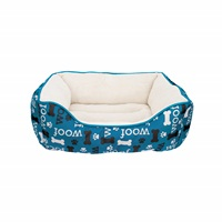 Dogit DreamWell Dog Cuddle Bed - Rectangular - Blue Woof - 60 x 51 x 23 cm (24 x 20 x 9 in)