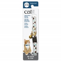 Catit Adjustable Breakaway Nylon Collar with Rivets - White with Polka Dots - 20-33 cm (8-13 in)