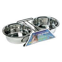 Dogit Stainless Steel Double Dog Diner - Large - With 2 x 1.5 L (50 fl oz) bowls and stand