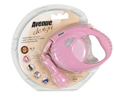 Avenue Dog Retractable Tape Leash - Pink - Extra Small - 3 m (10 ft)