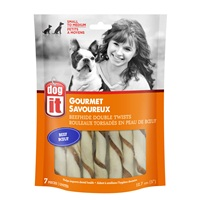 """Dogit Beefhide Double Twists - Beef Flavour - 12.7 cm (5"""") – 7 pack"""