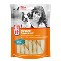 """Dogit Beefhide Double Twists - Chicken Flavour - 12.7 cm (5"""") – 7 pack"""
