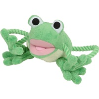 """Dogit """"Puppy Luvz"""" Plush Dog Toy with Squeaker - Green Frog - 22 cm (9"""")"""