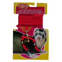 Living World Adjustable Harness and Lead Set for Ferrets - Red - 1.2 m (4 ft)