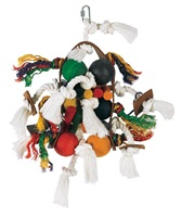 Living World Junglewood Bird Toy - Large Wood, Rope and Tamborine with 6 Balls and Hanging Clip